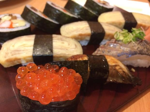 Futomaki roll, Egg Tamago nigiri, Salmon roe, Eel nigiri, Horse Mackeral aji nigiri