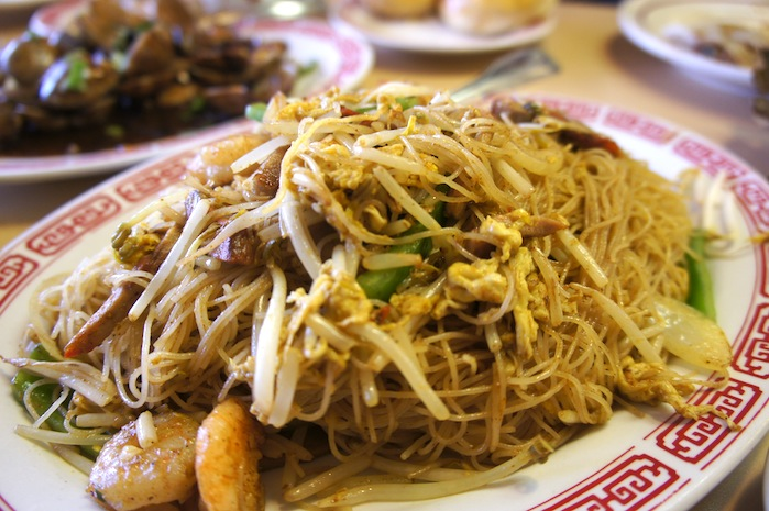 Singapore Noodles with shrimp, chicken, and roast pork