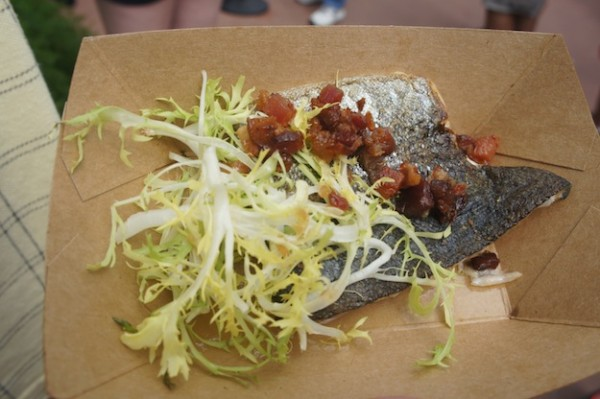 Canada's Seared Rainbow Trout with Bacon, Frisee and Maple Minus 8 Vinaigrette