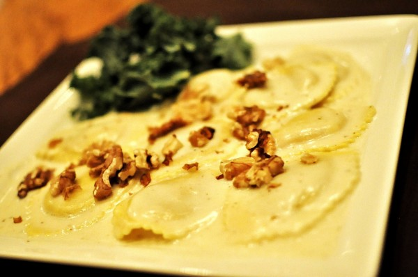 Pumpkin Ravioli - toasted walnuts, sage cream sauce