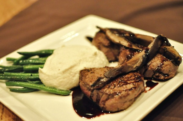 Filet Medallions with Portabella Mushroom - port reduction, portabella mushroom, cauliflower mash, haricot verts