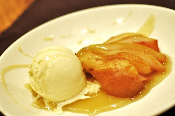 Warm Poached Pear - salted caramel, vanilla ice cream