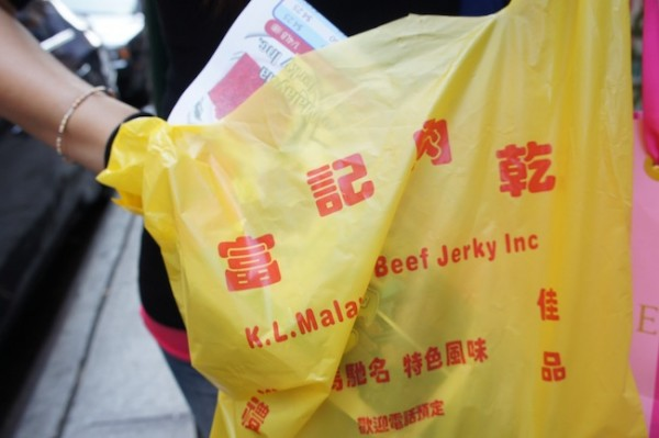 Malaysian Beef Jerky in Chinatown - popular street food, sweet, in Hong Kong
