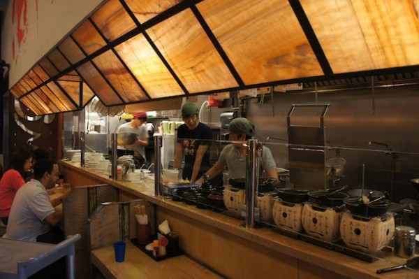 Sit at the bar and watch the ramen chefs at work or towards the back - Umaido