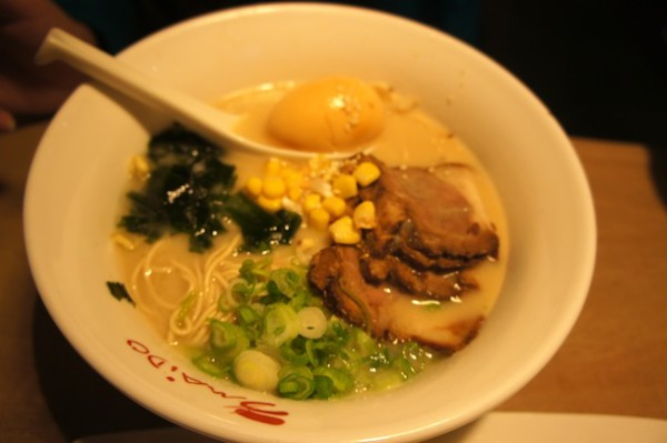 Honey Miso ramen - made with corn, sliced pork, scallions, seaweed in miso broth