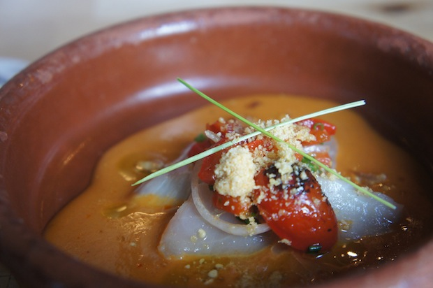 "local cobia crudo gazpacho (vinaigrette-pickled watermelon, olive oil ""cheese"")"
