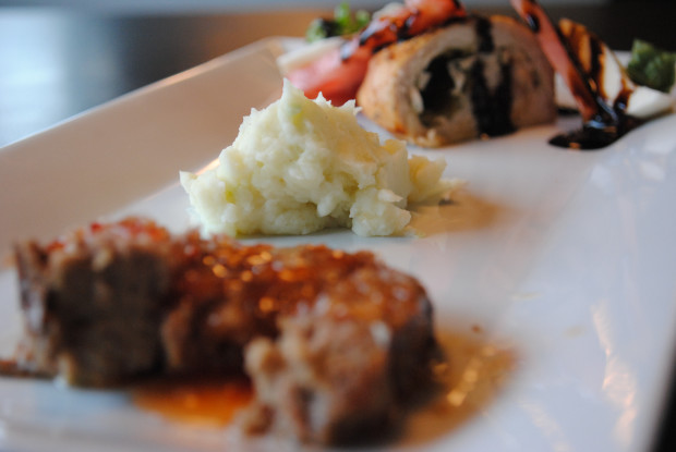 Chicken Caprese Roulade with Asian meatloaf and mashed potatoes (recipes below)