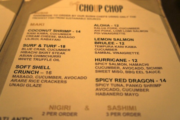List of new sushi rolls at Tchoup - chop