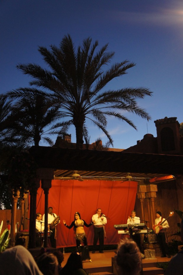 Night scenes out side Spice Road Table - Belly dancing and Moroccan band