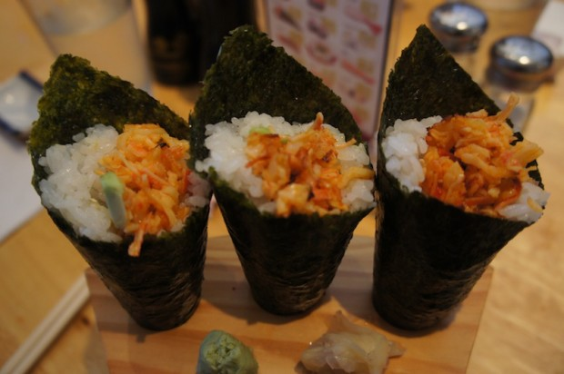 Hand rolls with spicy seafood mix