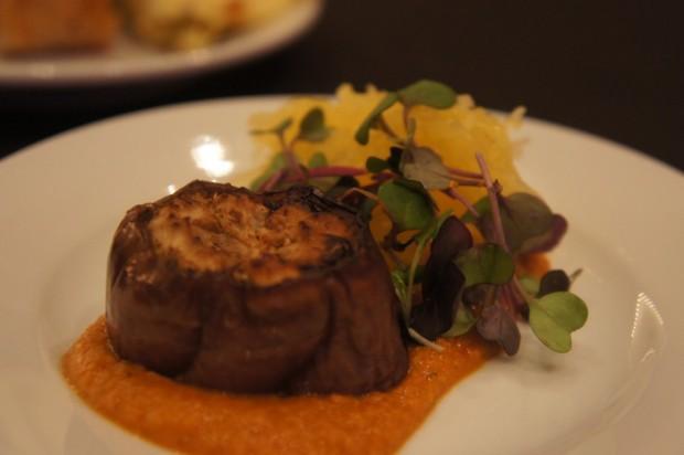 "Land-grown eggplant ""scallop"" with romesco sauce and spaghetti squash at the Urban Farm Eats kitchen"