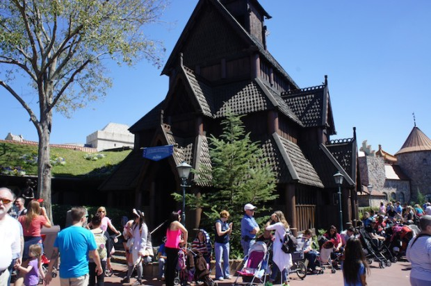 Long lines await at the Epcot Norway pavilion for the character meet and greet with Anna and Elsa of Disney's Frozen