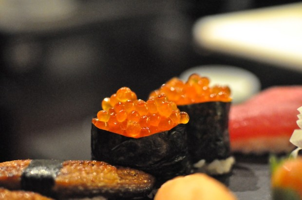 Salmon roe sushi - little, salty pearls of fish eggs that just pop in your mouth with flavors of the sea.