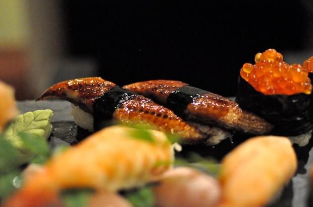 Unagi eel nigiri sushi - nicely grilled
