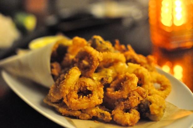 Frito Misto of Calamari / baby artichoke,  button mushroom, fennel and lemon aioli