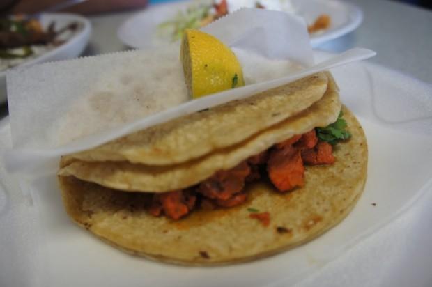 Pork al Pastor tacos at El Pueblo