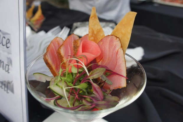 Five spice ahi tuna cocktail with pickled radishes from Bite at Crowne Plaza