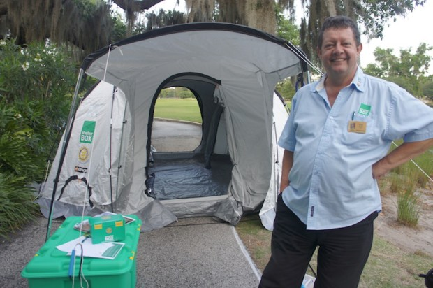 The Shelter Box, one of the charities of Rotary Club at College Park, providing shelters for refugees around the world