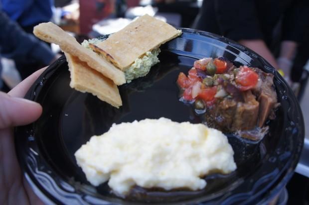 Braised short ribs, creamy polenta, edamame hummus w pita chips - Carmel Cafe and Wine Bar