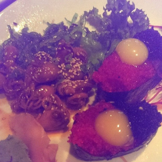Dinner #tobikonigiri with quail eggs and octopus salad. Itadakimasu! @adventures_of_satori