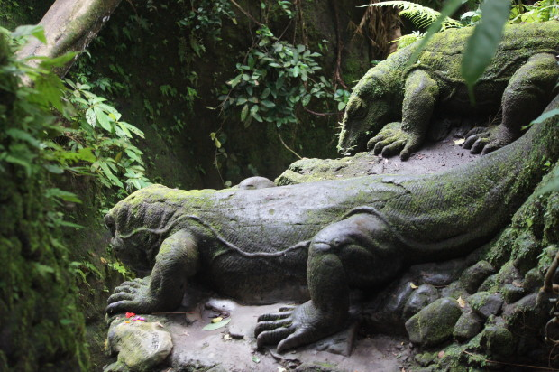 Komodo Dragon statues - Sacred Monkey Forest in Ubud