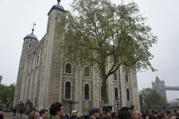 The White Tower where the king lived inside the Tower of London