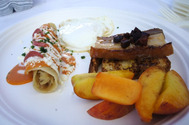 Enchilada, French Toast, Pork Belly, Over Easy Egg, Peaches from Norman's