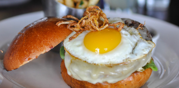 Wagyu Cheeseburger with Fried Egg and Crisp Onions