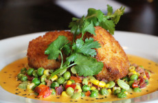 Pan - Fried Lump Crab Cakes - Kimchi Butter Sauce, Succotash, Lyonnaise Potatoes - $25 - Photo by Unique Michael