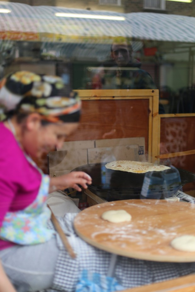 A Turkish lady making gozlenes, kind of a Turkish roti stuffed with cheese and spinach