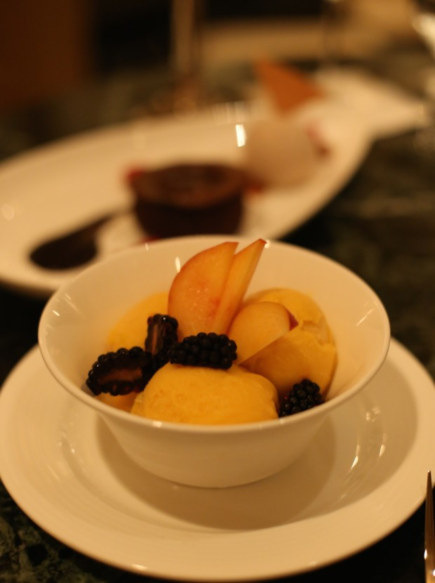 Mango fruit sorbet with blackberries