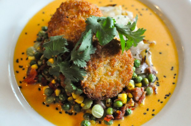 Pan - Fried Lump Crab Cakes - Kimchi Butter Sauce, Succotash, Lyonnaise Potatoes - $25 - Photo by Krystle Nguyen