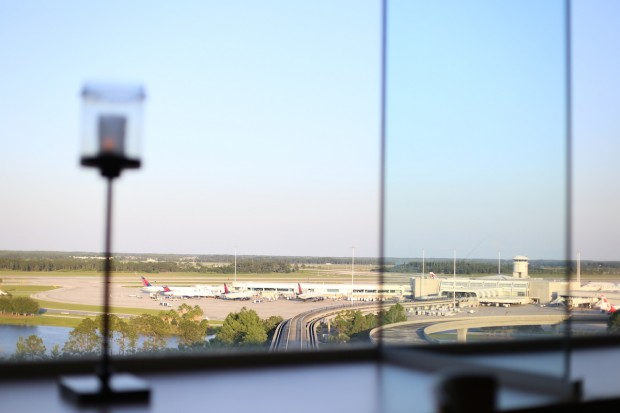 Gorgeous window views of the runways below at the Orlando International Airport
