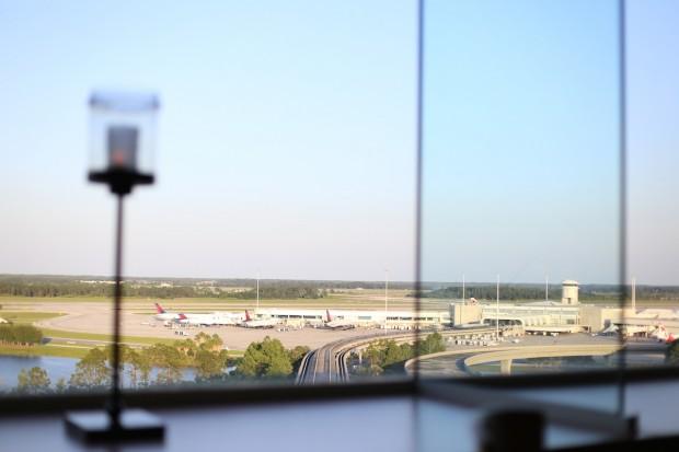 Gorgeous window views of the runways below at the Orlando International Airport