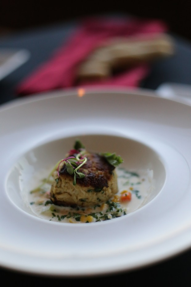 Blue Crab, sautéed crab cake, sweet corn chowder - $13