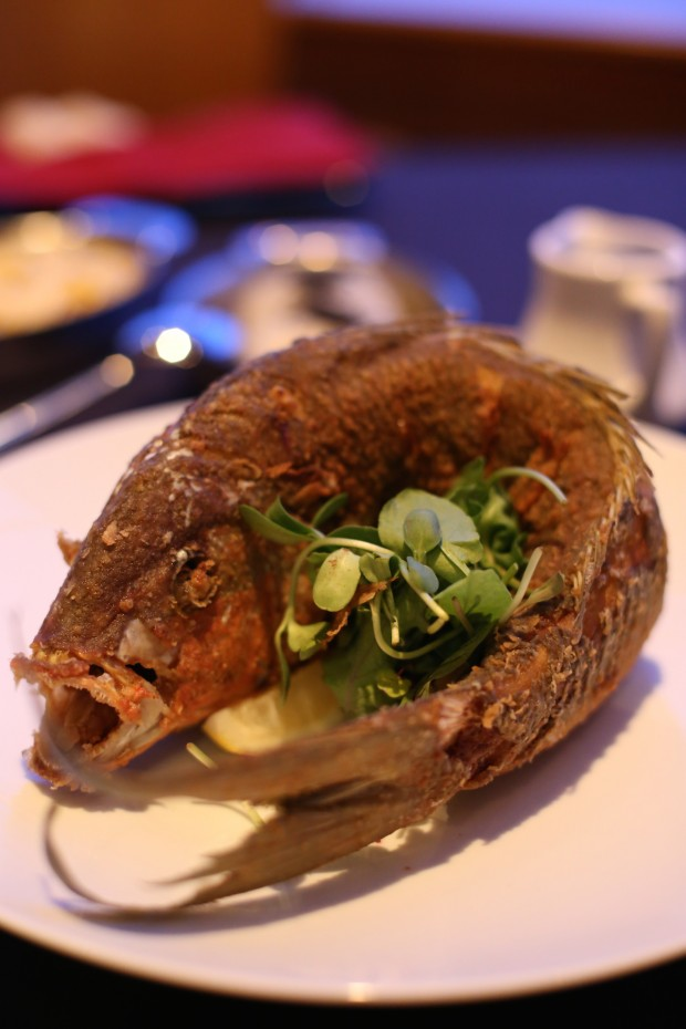 Whole Yellow Tail Snapper, flash fried, chili lime soy broth, Cilantro Jasmine rice - $34