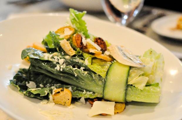 Key Lime Caesar: Romaine lettuce, fresh Florida key lime juice, shaved asiago, caramelized pecans, white anchovies