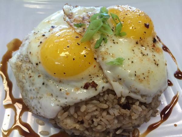 Pork adobo fried rice topped with egg