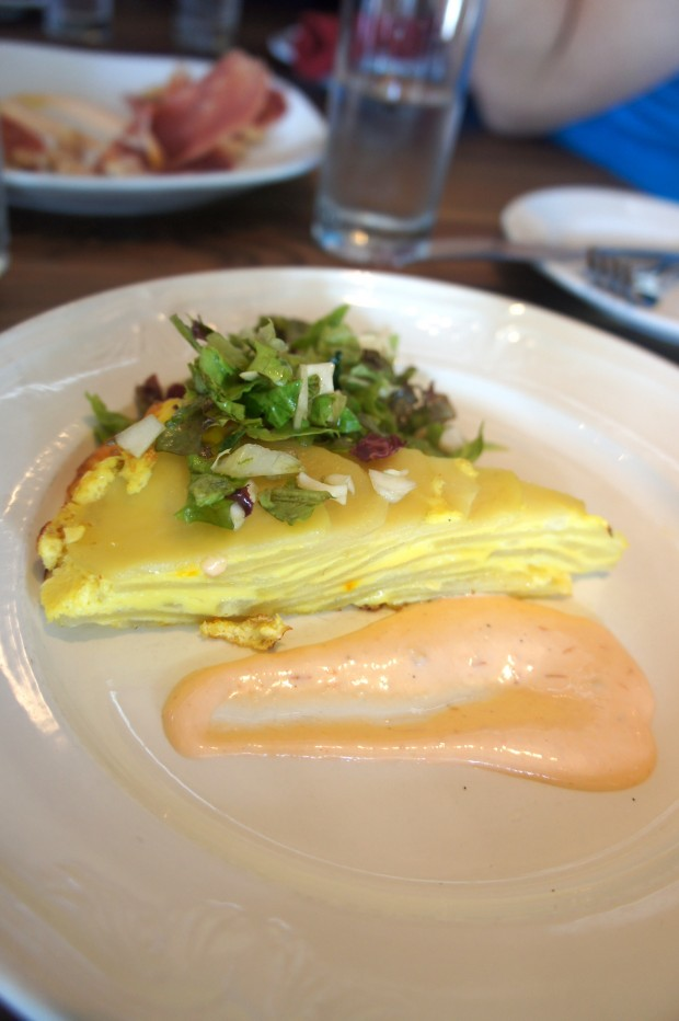 Tortilla Espanola - a tapas classic, not the corn tortillas that we are used to - these tortillas are made with layors of potato, onions, and eggs with a tomato aioli - $5