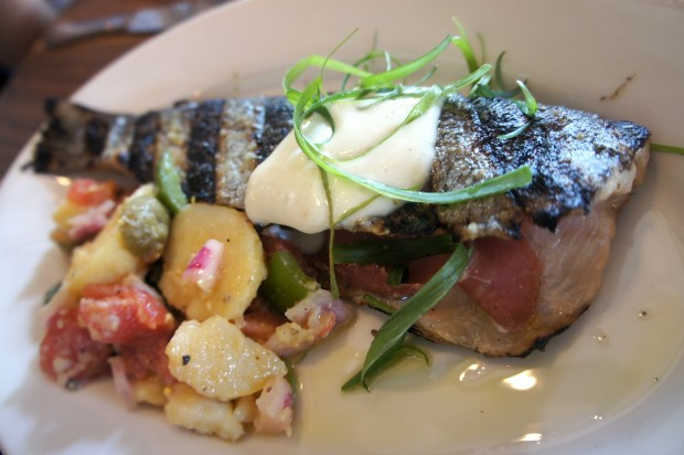 Jamon Stuffed Trout - Wood Grilled Rainbow Trout stuffed with serrano ham, fresh basil, summer potato salad