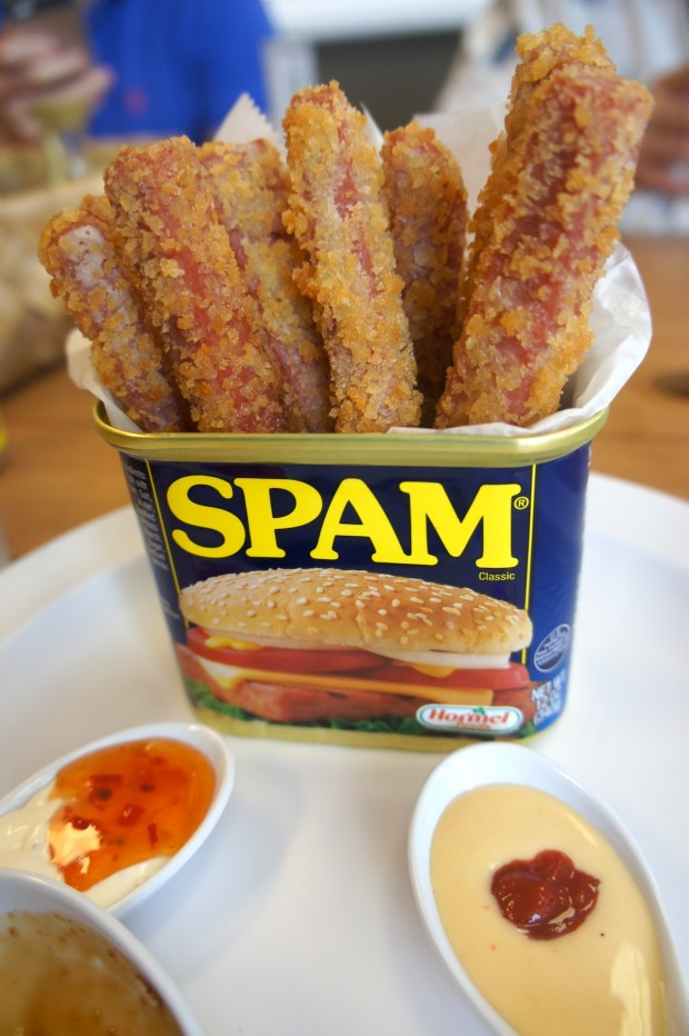 Spam fries at Hawaiian Grindz, dusted in panko bread crumbs and served with three sauces