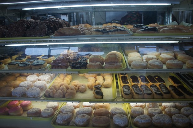 Display case of wondrous donuts at Sip and Dip