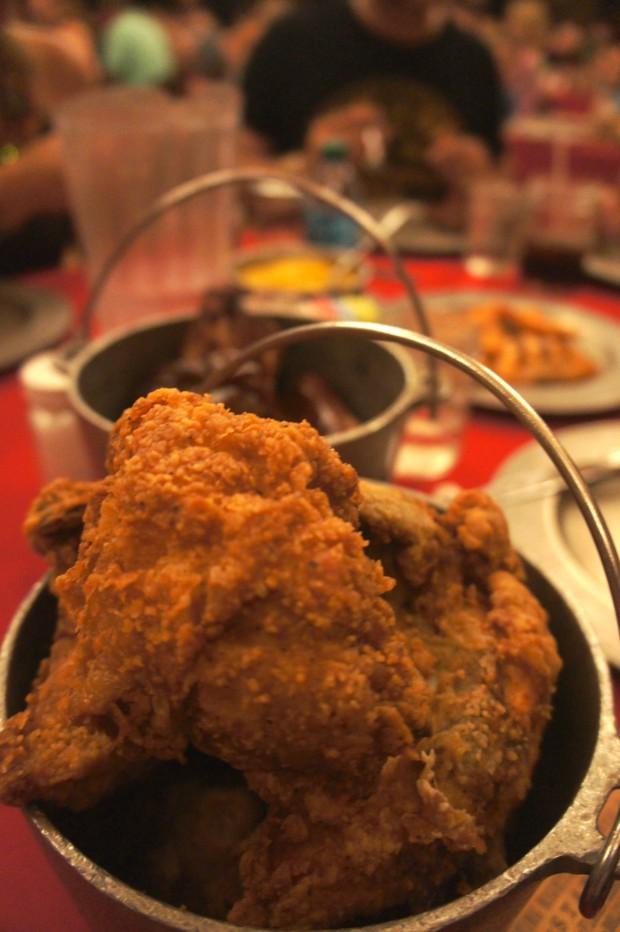 Fresh fried chicken at the Hoop-de-doo