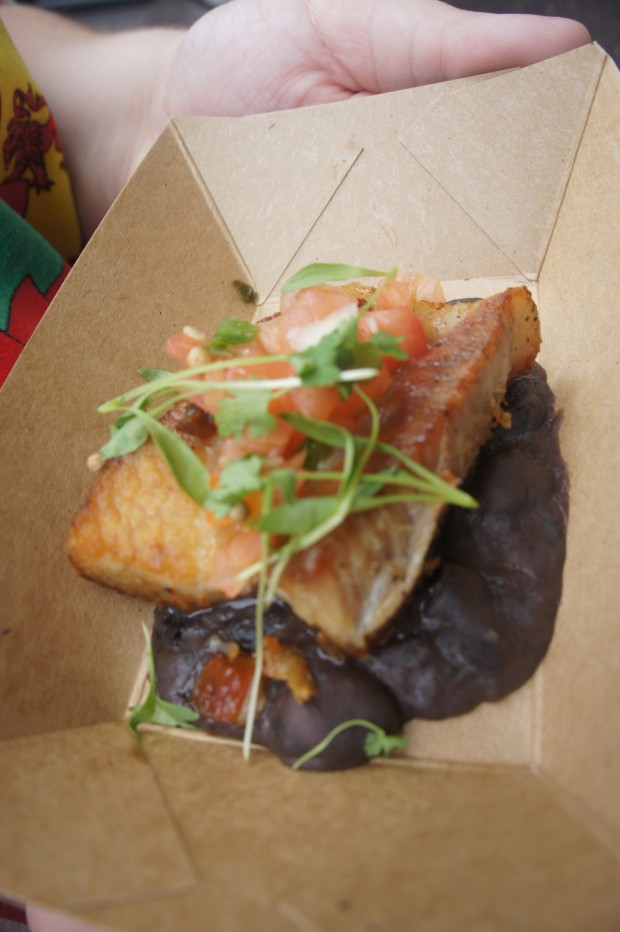 Crispy pork belly with black beans, tomato and cilantro (gluten free)*