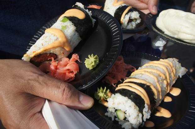 Japan - Spicy hand roll — Tuna and salmon with Kazan Volcano sauce