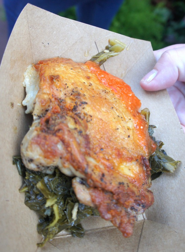 "Griddled ""yard bird"" with braised greens and house-made habanero sauce (gluten free)"