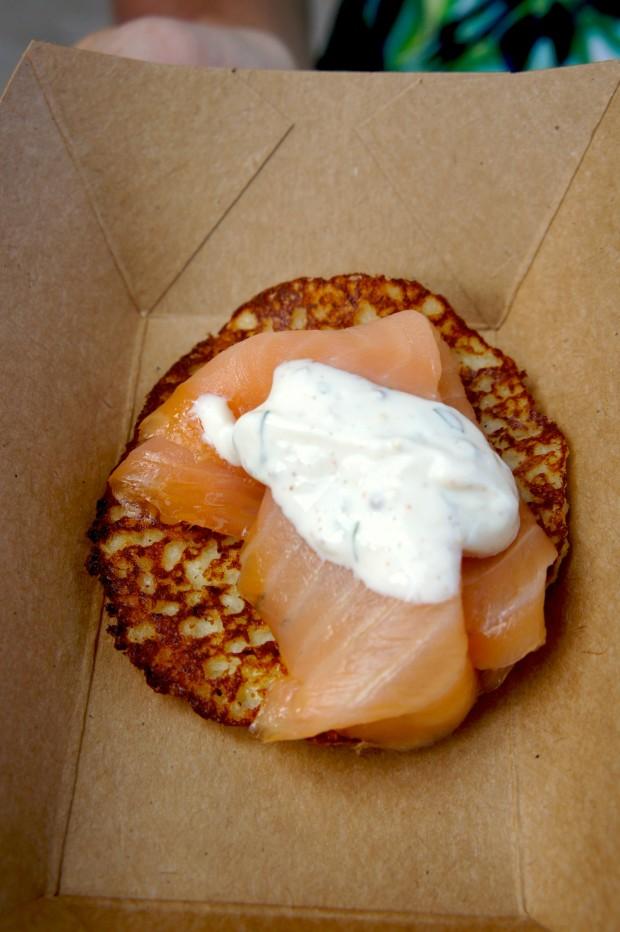 Fresh potato pancake with smoked Scottish salmon and herb sour cream (gluten free)*