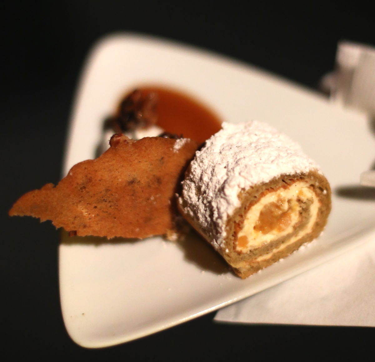 Sweet potato pecan roulade with salted Pecans and spiced caramel sauce ...