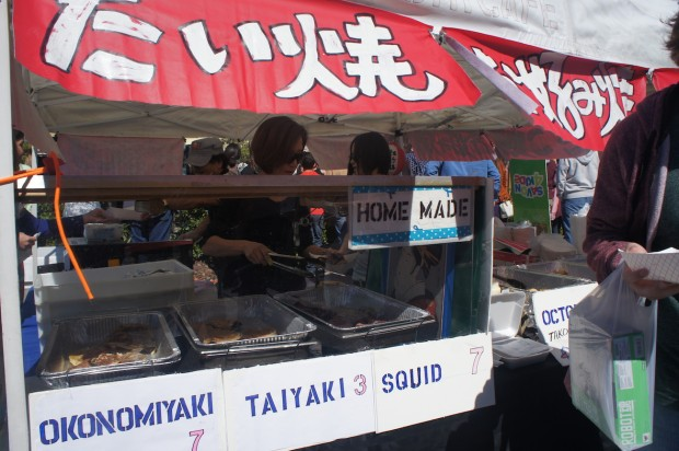 Japanese street food - includes a fish shaped mung bean dessert, squid, octopus balls