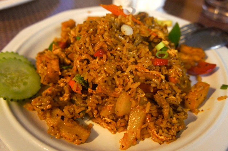 Chili Jam Fried Rice with Beef and Fried Tofu - Sweet and Spicy